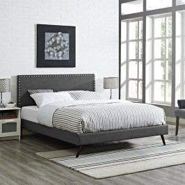 Phoebe Queen Fabric Platform Bed with Round Splayed Legs in Gray