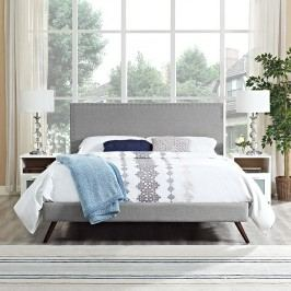 Phoebe Queen Fabric Platform Bed with Round Splayed Legs in Light Gray