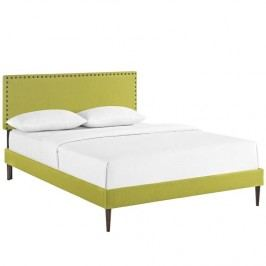 Phoebe Queen Fabric Platform Bed with Round Tapered Legs in Wheatgrass