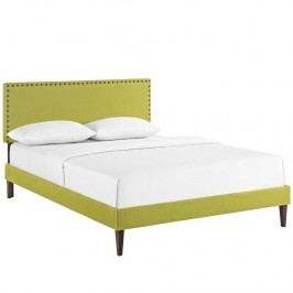 Phoebe Queen Fabric Platform Bed with Squared Tapered Legs in Wheatgrass