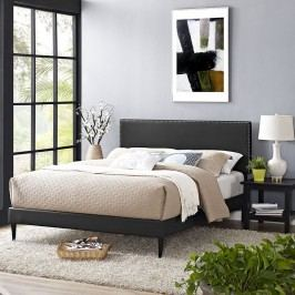 Phoebe  Queen Vinyl Platform Bed with Round Tapered Legs in Black
