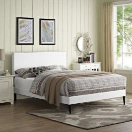 Phoebe  Queen Vinyl Platform Bed with Round Tapered Legs in White
