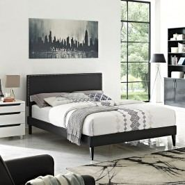 Phoebe  Queen Vinyl Platform Bed with Squared Tapered Legs in Black