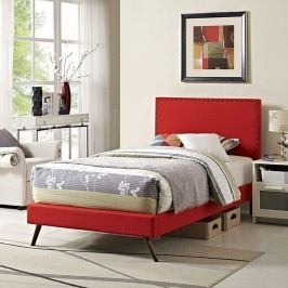 Phoebe  Twin Fabric Platform Bed with Round Splayed Legs in Atomic Red
