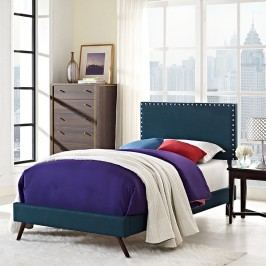 Phoebe  Twin Fabric Platform Bed with Round Splayed Legs in Azure