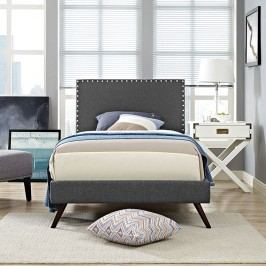 Phoebe  Twin Fabric Platform Bed with Round Splayed Legs in Gray
