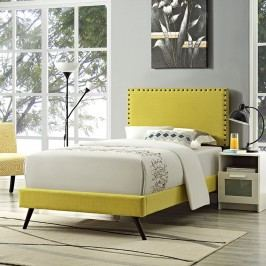 Phoebe  Twin Fabric Platform Bed with Round Splayed Legs in Sunny