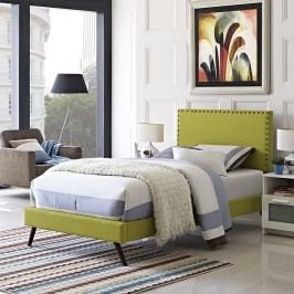 Phoebe  Twin Fabric Platform Bed with Round Splayed Legs in Wheatgrass