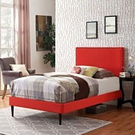 Phoebe  Twin Fabric Platform Bed with Round Tapered Legs in Atomic Red