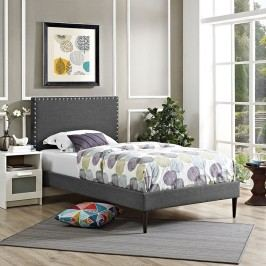 Phoebe  Twin Fabric Platform Bed with Round Tapered Legs in Gray