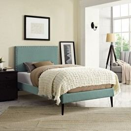 Phoebe  Twin Fabric Platform Bed with Round Tapered Legs in Laguna