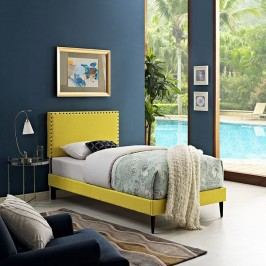 Phoebe  Twin Fabric Platform Bed with Round Tapered Legs in Sunny