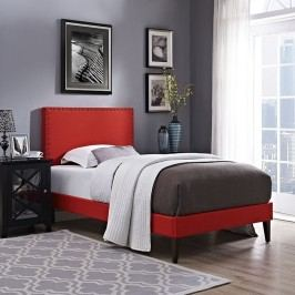 Phoebe  Twin Fabric Platform Bed with Squared Tapered Legs in Atomic Red