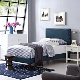 Phoebe  Twin Fabric Platform Bed with Squared Tapered Legs in Azure