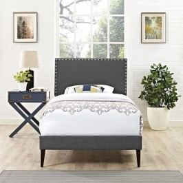 Phoebe  Twin Fabric Platform Bed with Squared Tapered Legs in Gray