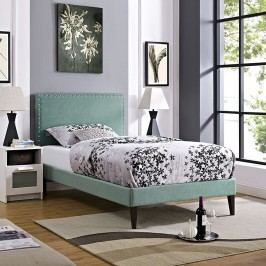 Phoebe  Twin Fabric Platform Bed with Squared Tapered Legs in Laguna
