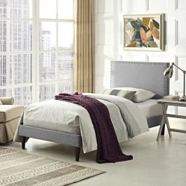 Phoebe  Twin Fabric Platform Bed with Squared Tapered Legs in Light Gray
