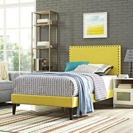 Phoebe  Twin Fabric Platform Bed with Squared Tapered Legs in Sunny