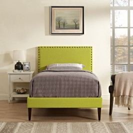 Phoebe  Twin Fabric Platform Bed with Squared Tapered Legs in Wheatgrass