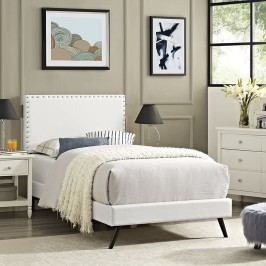 Phoebe  Twin Vinyl Platform Bed with Round Splayed Legs in White