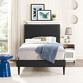 Phoebe  Twin Vinyl Platform Bed with Round Tapered Legs in Black