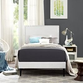 Phoebe  Twin Vinyl Platform Bed with Round Tapered Legs in White