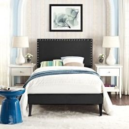 Phoebe  Twin Vinyl Platform Bed with Squared Tapered Legs in Black