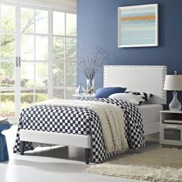 Phoebe  Twin Vinyl Platform Bed with Squared Tapered Legs in White