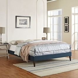 Sharon Full Fabric Bed Frame with Squared Tapered Legs in Azure