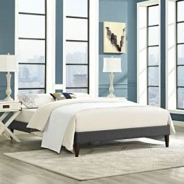 Sharon Full Fabric Bed Frame with Squared Tapered Legs in Gray