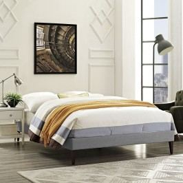 Sharon Full Fabric Bed Frame with Squared Tapered Legs in Light Gray
