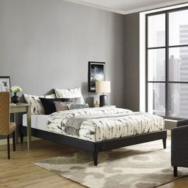 Sharon King Vinyl Bed Frame with Squared Tapered Legs in Black