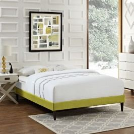 Sharon Queen Fabric Bed Frame with Squared Tapered Legs in Wheatgrass