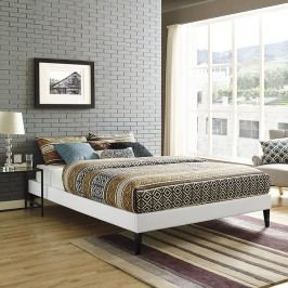 Sharon Queen Vinyl Bed Frame with Squared Tapered Legs in White