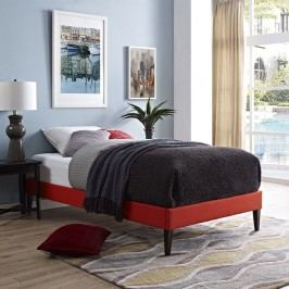 Sharon Twin Fabric Bed Frame with Squared Tapered Legs in Atomic Red