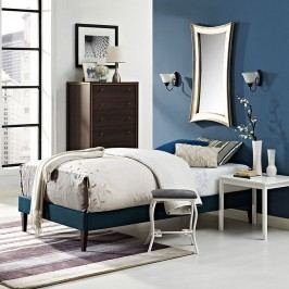 Sharon Twin Fabric Bed Frame with Squared Tapered Legs in Azure