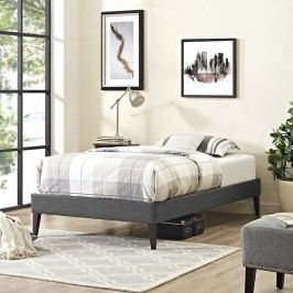 Sharon Twin Fabric Bed Frame with Squared Tapered Legs in Gray