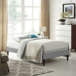 Sharon Twin Fabric Bed Frame with Squared Tapered Legs in Light Gray