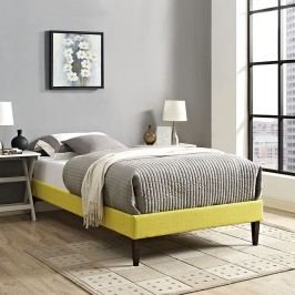Sharon Twin Fabric Bed Frame with Squared Tapered Legs in Sunny