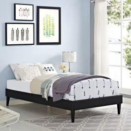 Sharon Twin Vinyl Bed Frame with Squared Tapered Legs in Black