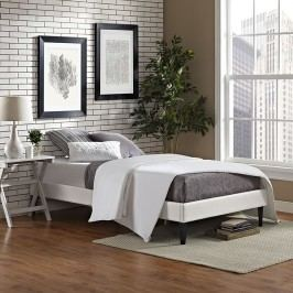 Sharon Twin Vinyl Bed Frame with Squared Tapered Legs in White