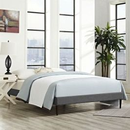Sherry King Fabric Bed Frame with Round Tapered Legs in Gray