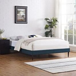 Sherry Queen Fabric Bed Frame with Round Tapered Legs in Azure