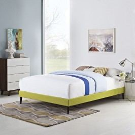 Sherry Queen Fabric Bed Frame with Round Tapered Legs in Wheatgrass