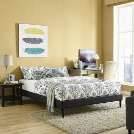 Sherry Queen Vinyl Bed Frame with Round Tapered Legs in Black