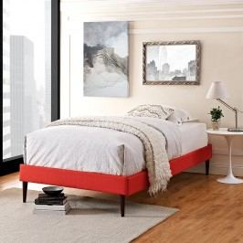 Sherry Twin Fabric Bed Frame with Round Tapered Legs in Atomic Red