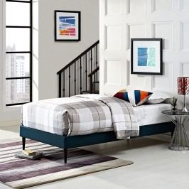 Sherry Twin Fabric Bed Frame with Round Tapered Legs in Azure