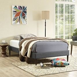 Sherry Twin Fabric Bed Frame with Round Tapered Legs in Gray