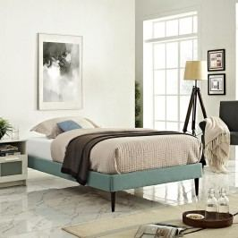 Sherry Twin Fabric Bed Frame with Round Tapered Legs in Laguna