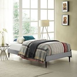 Sherry Twin Fabric Bed Frame with Round Tapered Legs in Light Gray